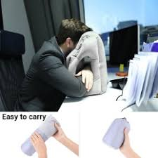 office sleeping pillow. multifunction inflatable air travel pillow airplane office desk nap grey intl sleeping b