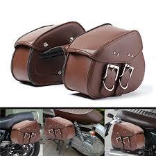 brown motorcycle pu leather saddlebags swingarm side tool bag for harley cod