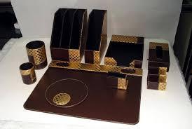 leather desk organizer set