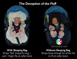 all the fluff in the sleeping bag making it as if the sleeping bag didn t even exist and the straps therefore way too loose for the baby s