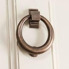 distressed antique br hoop shaped door knocker
