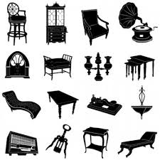 furniture black and white. antique furniture black and white silhouette vector u