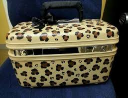 upcycled vine samsonite train case makeup case print leopard cute