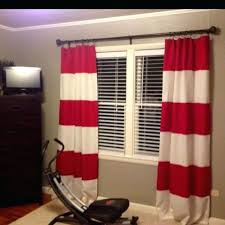 rugby stripe curtains use two panels one red one white cut and sew together to create rugby stripe curtains