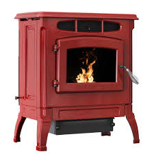 2 000 sq ft epa certified cast iron pellet stove red enameled