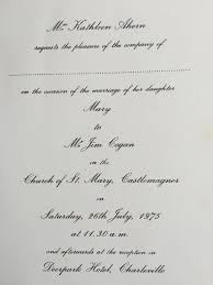 listowel connection the races the first photos Wedding Invitations Listowel Kerry this is a wedding invitation from 1975 the full story and the listowel connection later in the week wedding invitations listowel co kerry