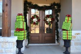 how to hang garland around front doorDecorations  Stacked Gifts Like Columns Christmas Entrance Door