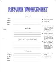 Printable Resume Worksheet Template