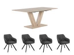 Ausziehbarer Esstisch Lixa Mit 4 Dunkelgrauen Esszimmerstühlen Monee