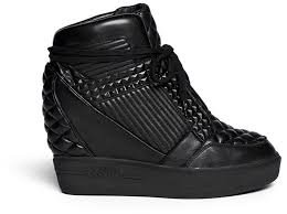 black leather wedge sneakers ash azimut textured leather high top wedge sneakers