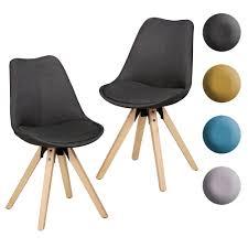 Finebuy 2er Set Esszimmerstühle Retro Stuhl Küchenstühle Stoff Stühle