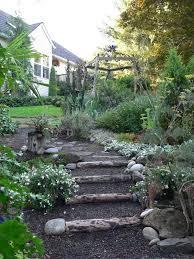create garden steps from felled tree