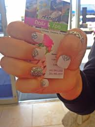 french v cut nails with silver glitter