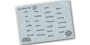 Free Weather And Seasons Rain Word Mat Weather And