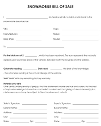 bill of sales template snowmobile bill of sale jpg