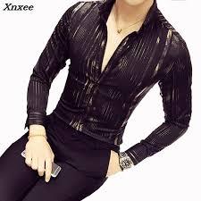 2019 Luxury Gold Shirt Men <b>2018 New</b> Long Sleeve Black <b>White</b> ...