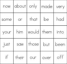 sight word bingo card 5 list 4