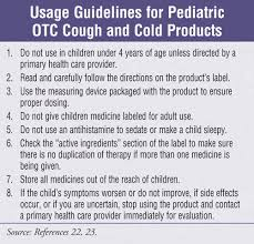 otc cough and cold cations in children