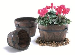 flower pots stands burnt wood pine curved barrel planter with handles small h18cm x