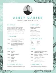 Teal Floral Illustration Acting Resume