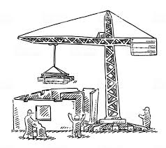 サイトを構築するクレーンの図面 いたずら書きのベクターアート素材や