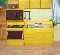 dollhouse kitchen furniture. Image Detail For -Arco Vintage Dollhouse Furniture Yellow And Brown Kitchen  Pcs 1 3 4 . Dollhouse Kitchen Furniture