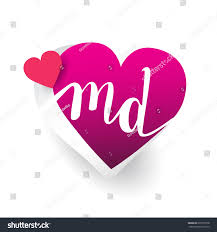 Md Design Initial Logo Letter Md Heart Shape Stock Vector Royalty