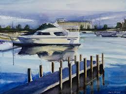 watercolor painting demo small boat harbor