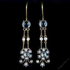 aquamarine pearl diamond earrings 18ct yellow gold