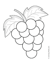 Grape Coloring Page Grapes With Leaf Coloring Page Grape Leaf