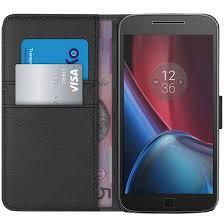 motorola g4. orzly leather wallet case for motorola moto g4 plus - black