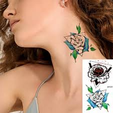 Vankirs Girls Geometric Rose Temporary Tattoos Stickers Ear Neck Diy Art Tattoos For Women Small Waterproof Tatoos Custom Arm
