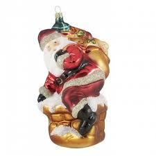 Christbaumschmuck Meisterstück Weihnachtsmann Auf Kamin Glas 19 Cm