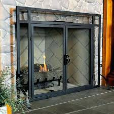 fireplace doors for spark screen glass screens pea brass fender gas covers ed brushed nickel