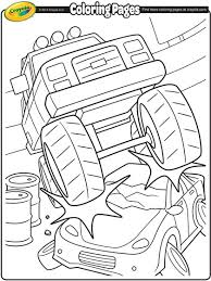 Monster Truck Crushing A Car Coloring Page