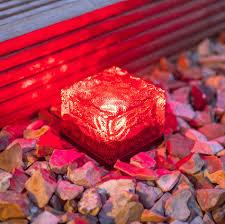 Red Solar Pathway Lights Solar Brick Ice Cube Path Light Crystal Garden Lamp Red