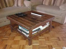 ... Coffee Table, Attractive Brown Square Vintage Wood Pallet Coffee Table  With Storage Diy Storage Design ...