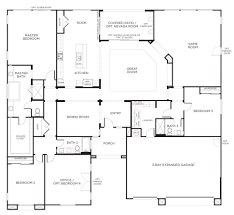 floor plan one story homes bedroom house plans with room modern simple houses screened porch game without garage daylight basement and large front brick