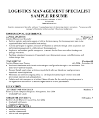 Logistics Specialist Sample Resume