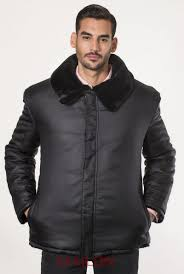 mens black jacket with sheared black mink fur interior lining blackglama collar