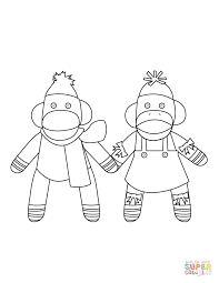 Mr Sock Monkey Coloring Page Free Printable Coloring Pages