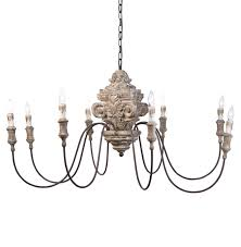ravel french country carved wood 8 light chandelier