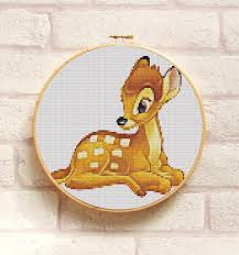 Embroidery Chart Bambi Cross Stitch Pattern Pdf Embroidery Chart Cute Nursery Wall Decor Disney Animal Deer Counted Cross Stitch Chart Instant Download