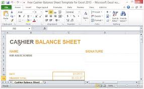 Free Cashier Balance Sheet Template For Excel 2013