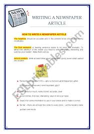Writing A Newspaper Article Writing A Newspaper Article Esl Worksheet By Hülya Bilgiç