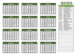 Printable 2020 Yearly Calendar Template Calendarlabs