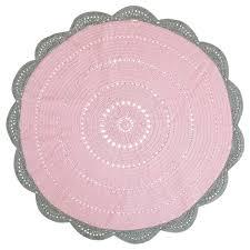 sophia crochet rug pink soft grey