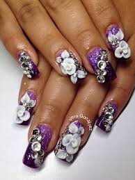 3D flowers and bling purple white and black | Acrylic Nails ...