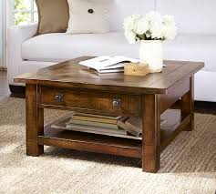 square coffee table with storage for benchwright rustic mahogany pottery barn designs 1