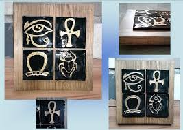 Decorative Tiles To Hang Egyptian Ceramic Tile Wall Art Solid Wood Plaque Ready to Hang 46